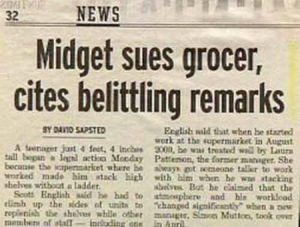 Midget Funny Newspaper Headline