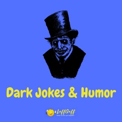 Featured image for a page of funny dark jokes and other morbid, dark humor.