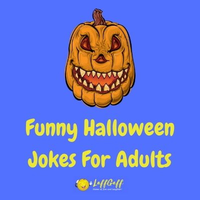 Featured image for a page of funny Halloween jokes for adults.