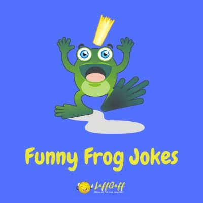 Featured image for a collection of funny frog jokes and puns.