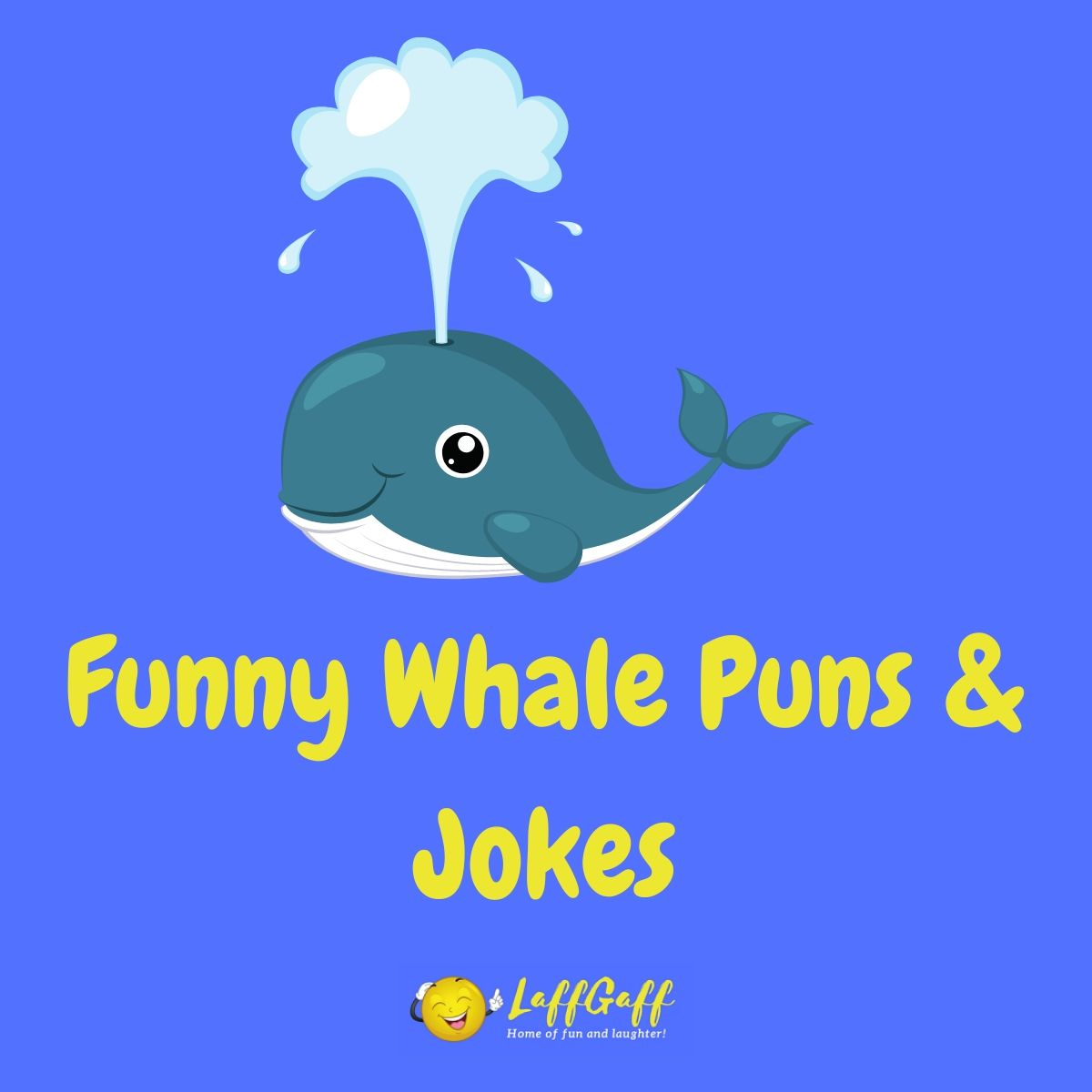 Featured image for a page of funny whale puns & jokes.