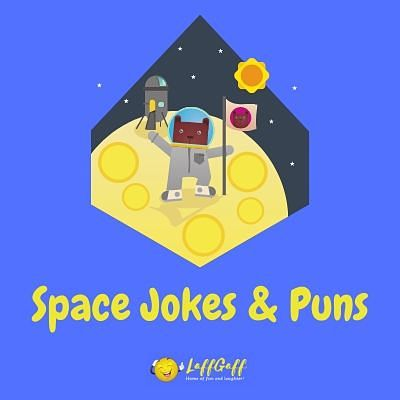 Featured image for a page of funny space jokes and puns.