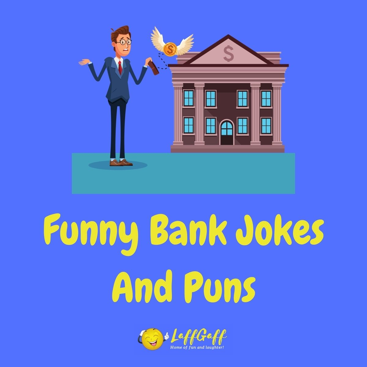 Featured image for a page of funny bank jokes and puns.