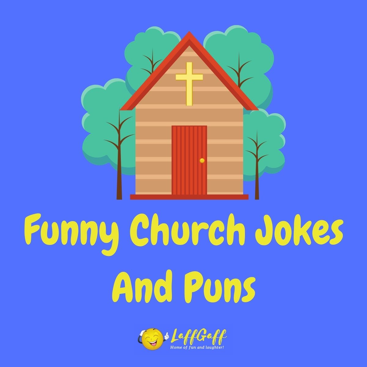 Featured image for a page of funny church jokes and puns.