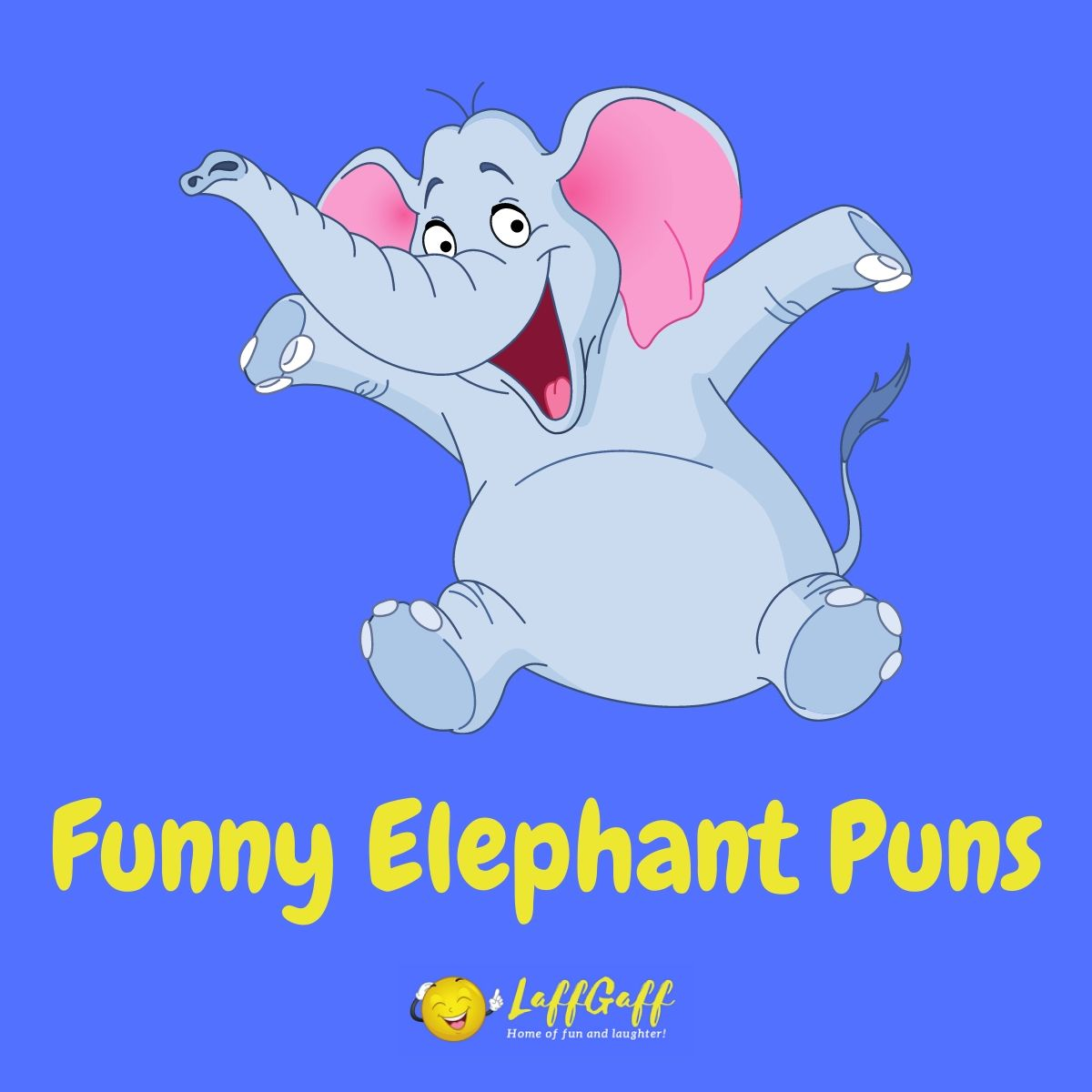 Featured image for a page of funny elephant puns and jokes.
