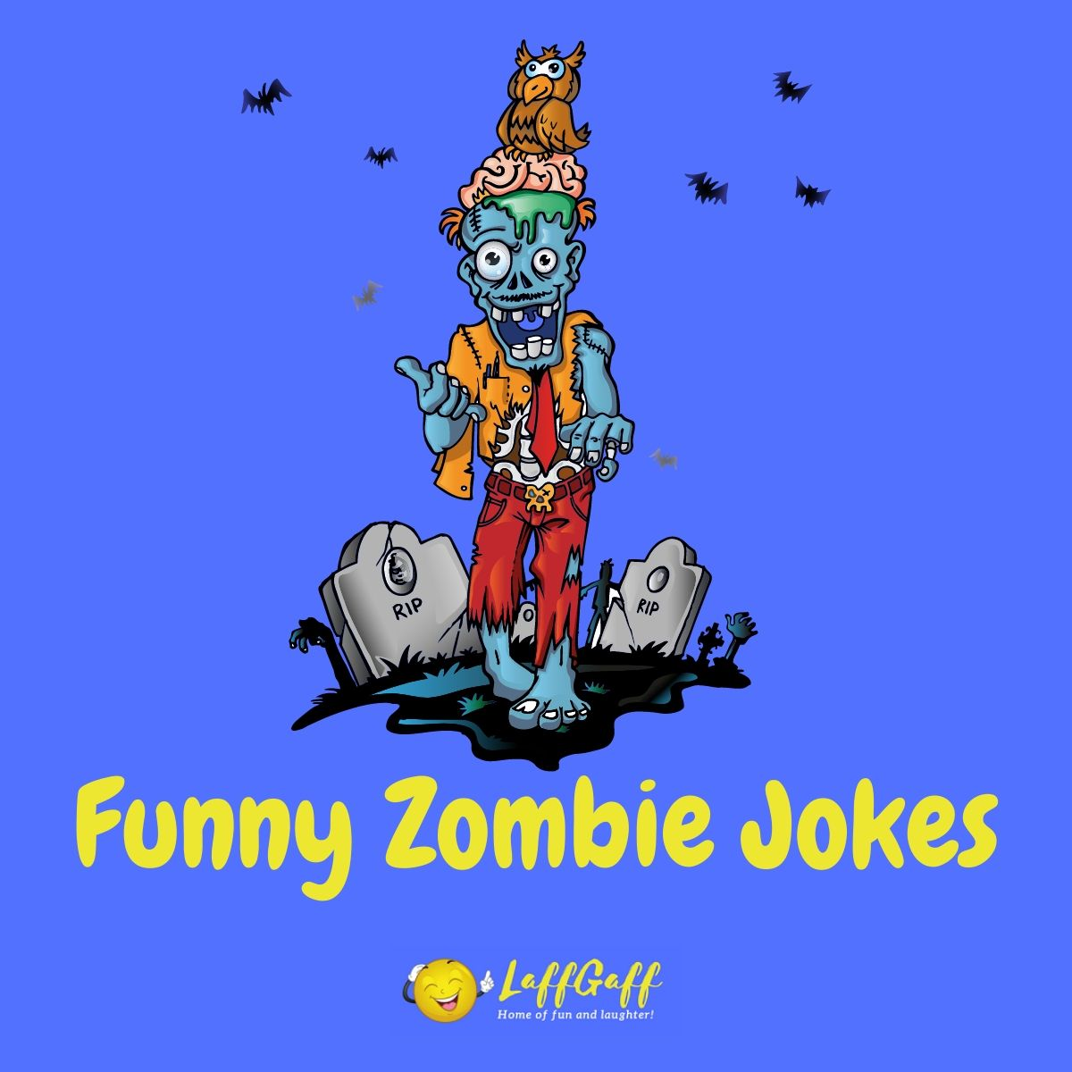 Featured image for a page of funny zombie jokes for Halloween.