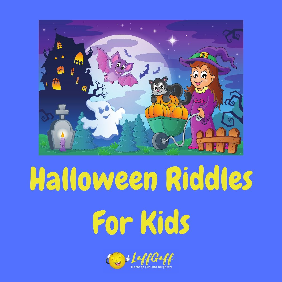 Featured image for a page of easy Halloween riddles for kids.