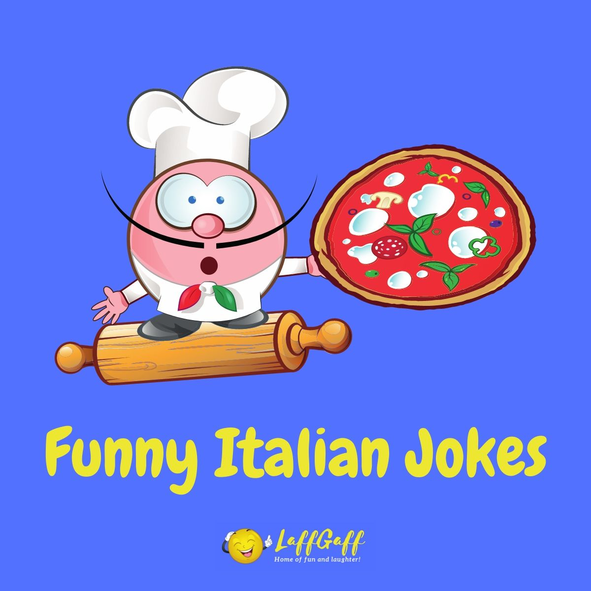 Featured image for a page of funny Italian jokes and puns.