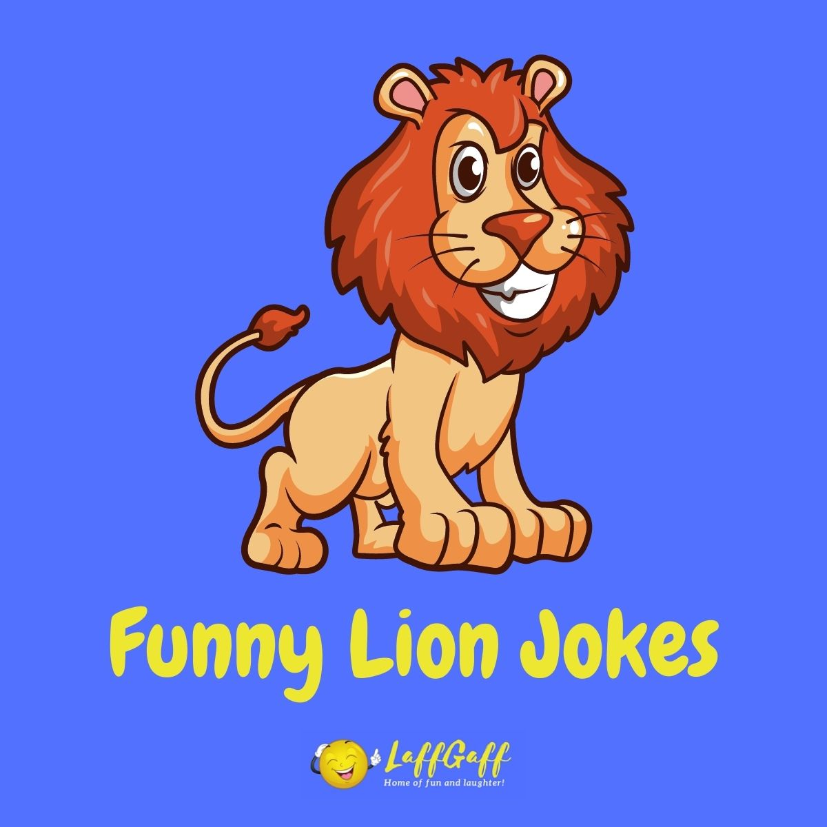 Featured image for a page of funny lion jokes and puns.