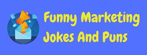 Header image for a page of funny marketing jokes and puns.