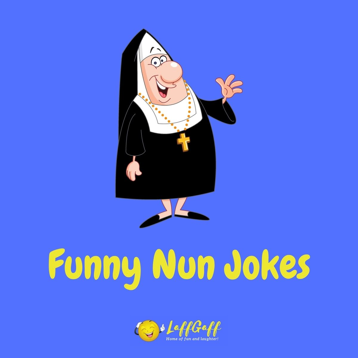 Featured image for a page of funny nun jokes and puns.