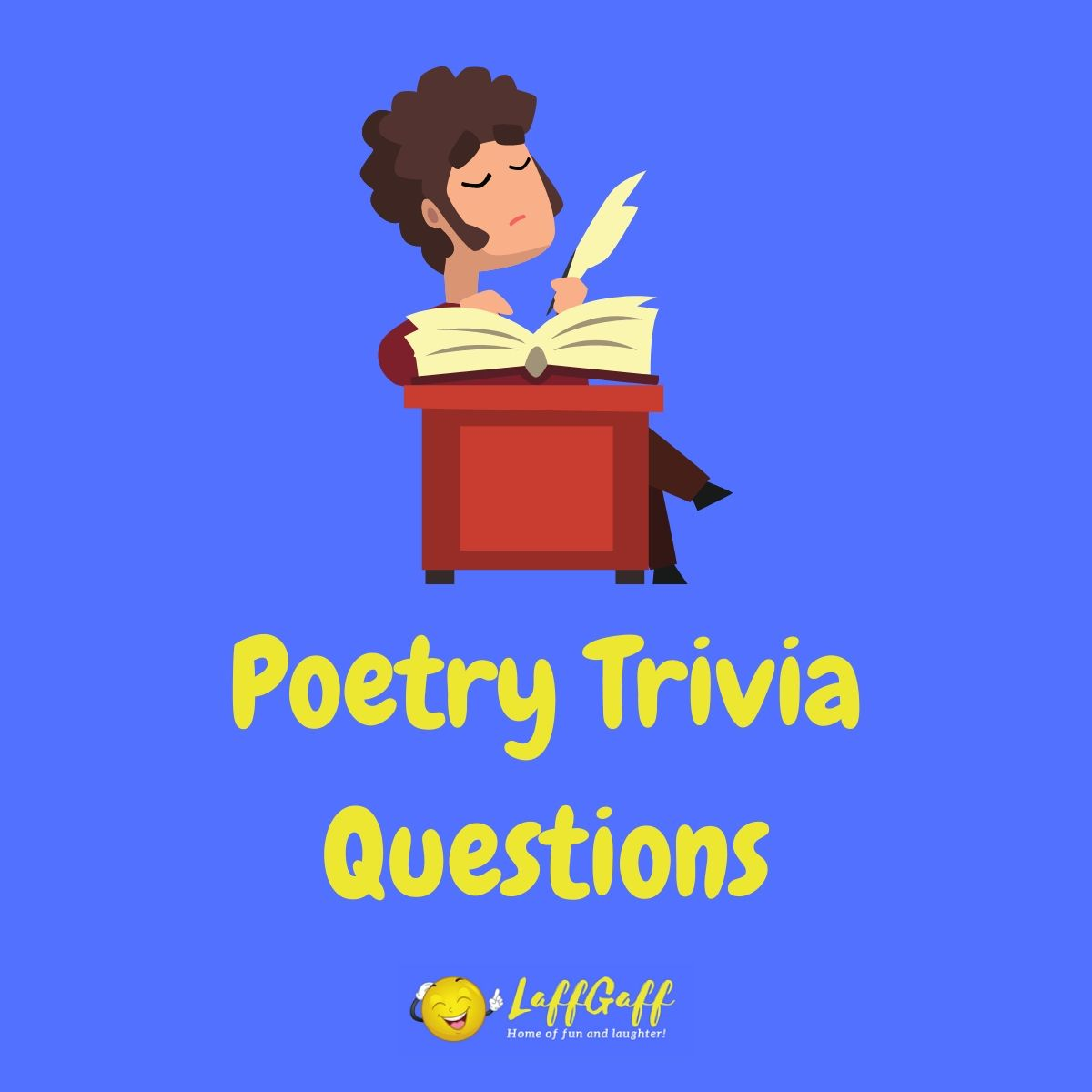 Featured image for a page of poetry trivia questions and answers.