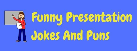 Header image for a page of funny presentation jokes and puns.