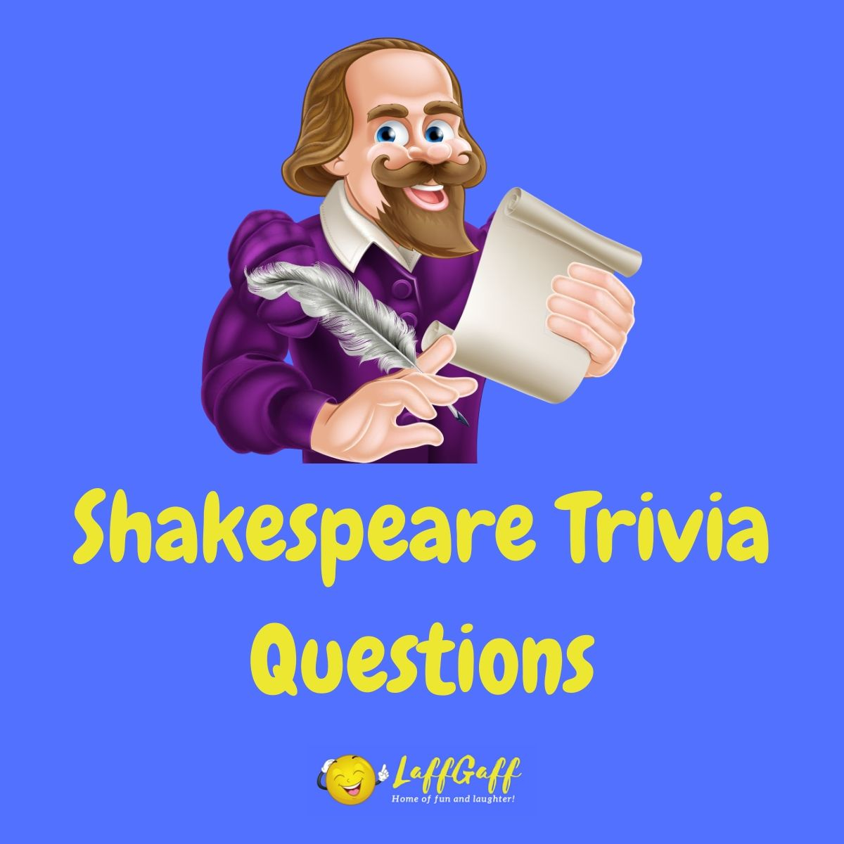 Featured image for a page of William Shakespeare trivia questions and answers.