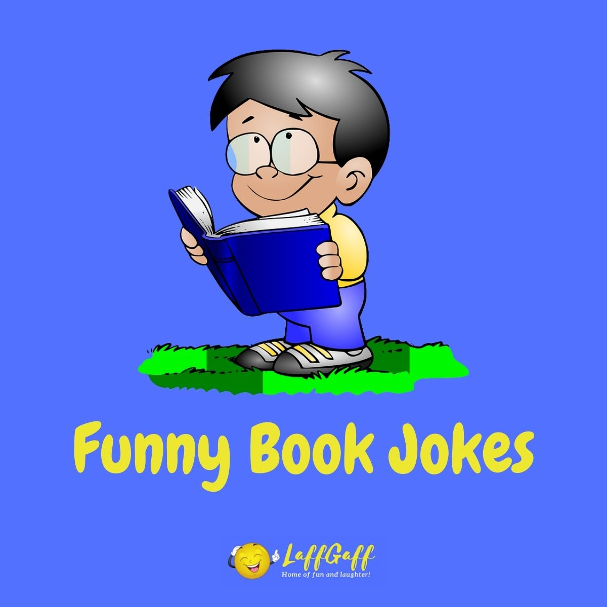 Featured image for a page of funny book jokes and puns.