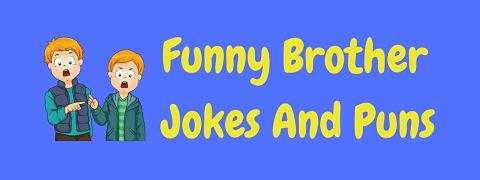 Header image for a page of funny brother jokes and puns.