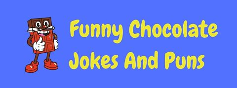 Header image for a page of funny chocolate jokes and puns.