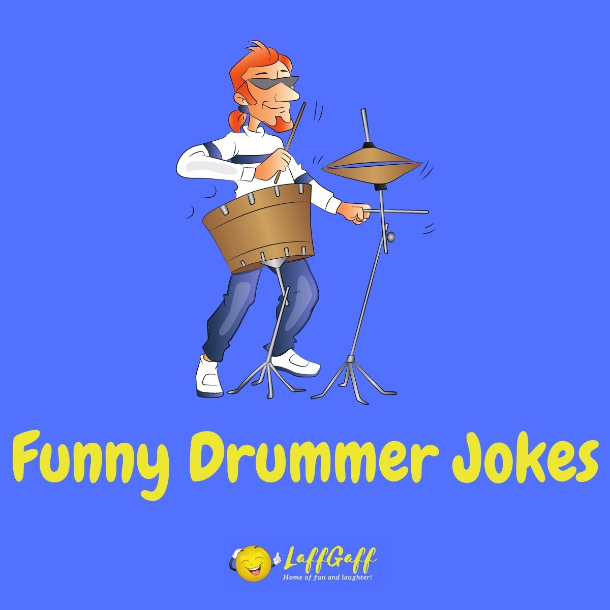 Featured image for a page of funny drummer jokes and puns.