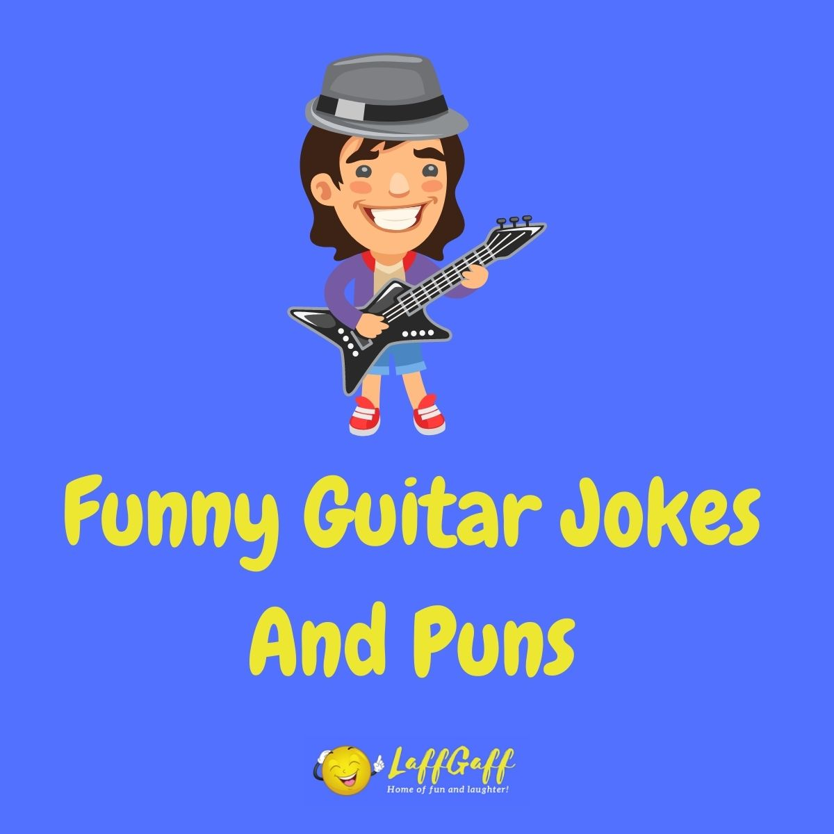 Featured image for a page of funny guitar jokes and puns.