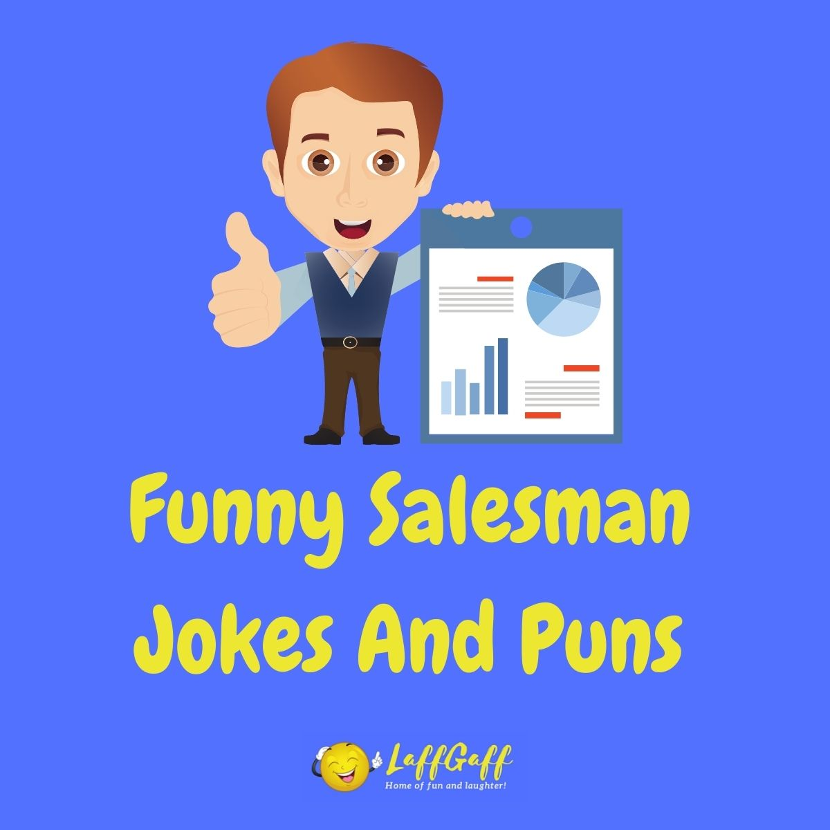 Featured image for a page of funny salesman jokes and puns.