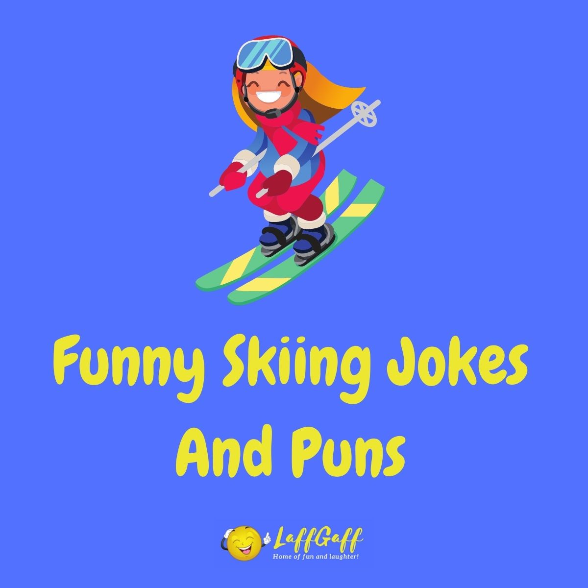 Featured image for a page of funny skiing jokes and puns.
