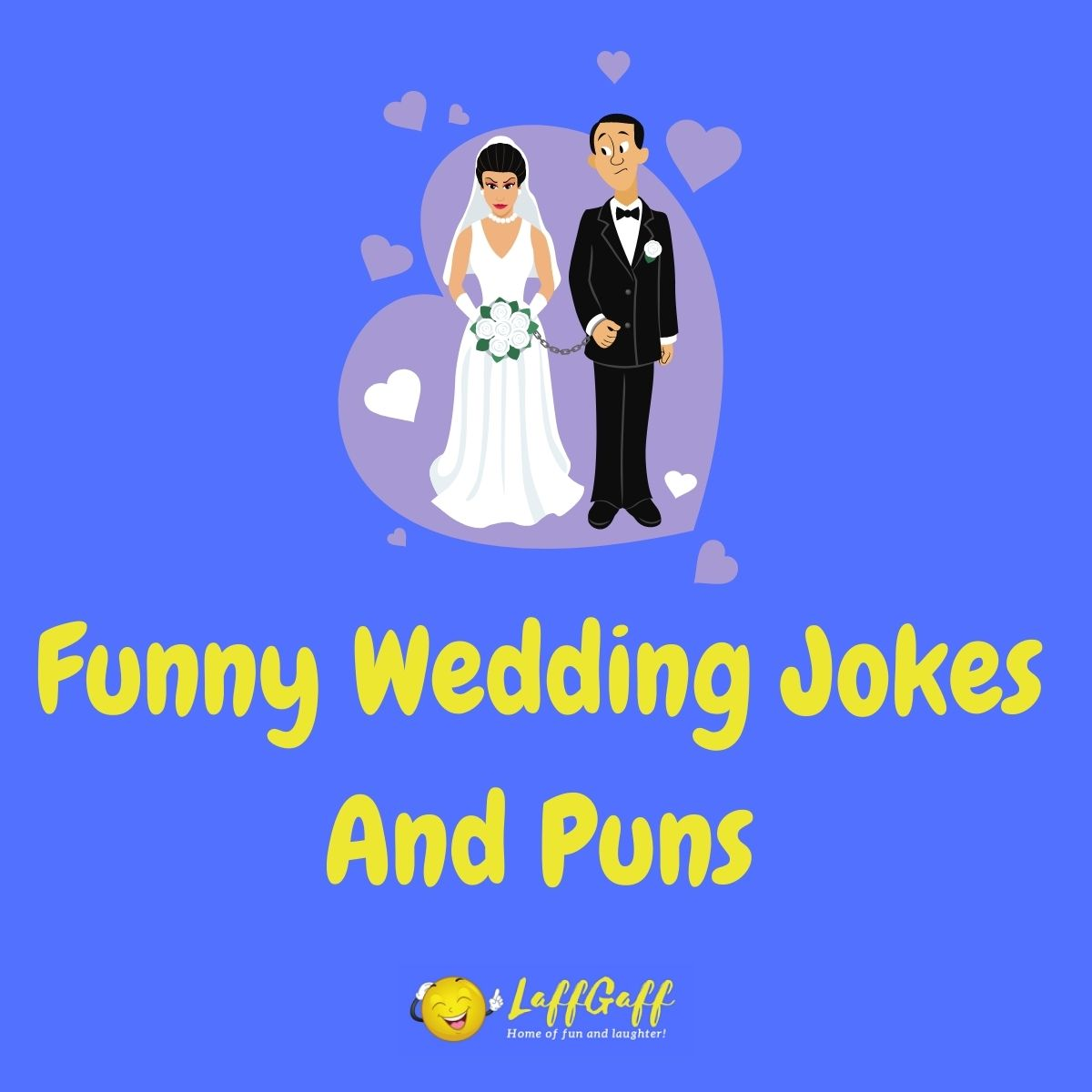 Featured image for a page of funny wedding jokes and puns.