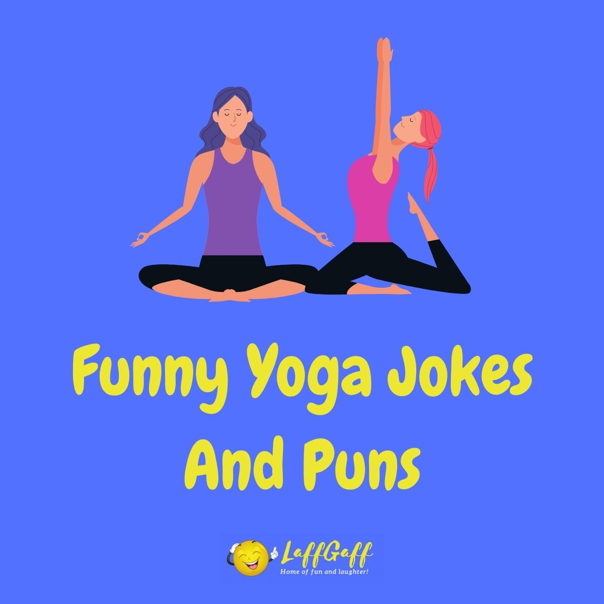 Featured image for a page of funny yoga jokes and puns.