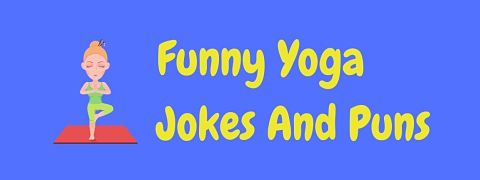 Header image for a page of funny yoga jokes and puns.