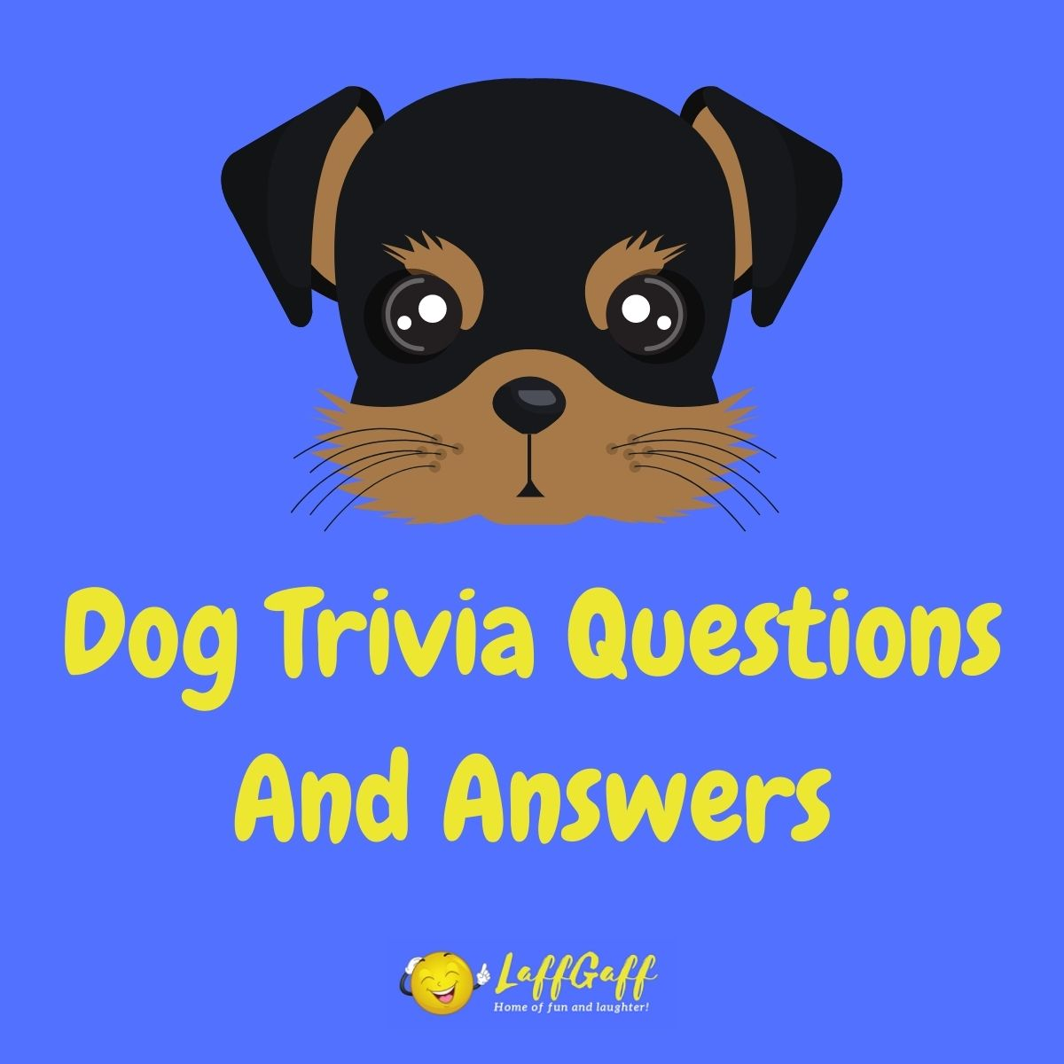 Featured image for a page of dog trivia questions and answers.
