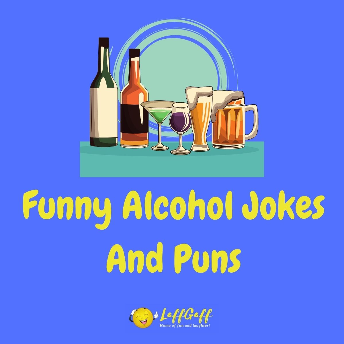 Featured image for a page of funny alcohol jokes and puns.