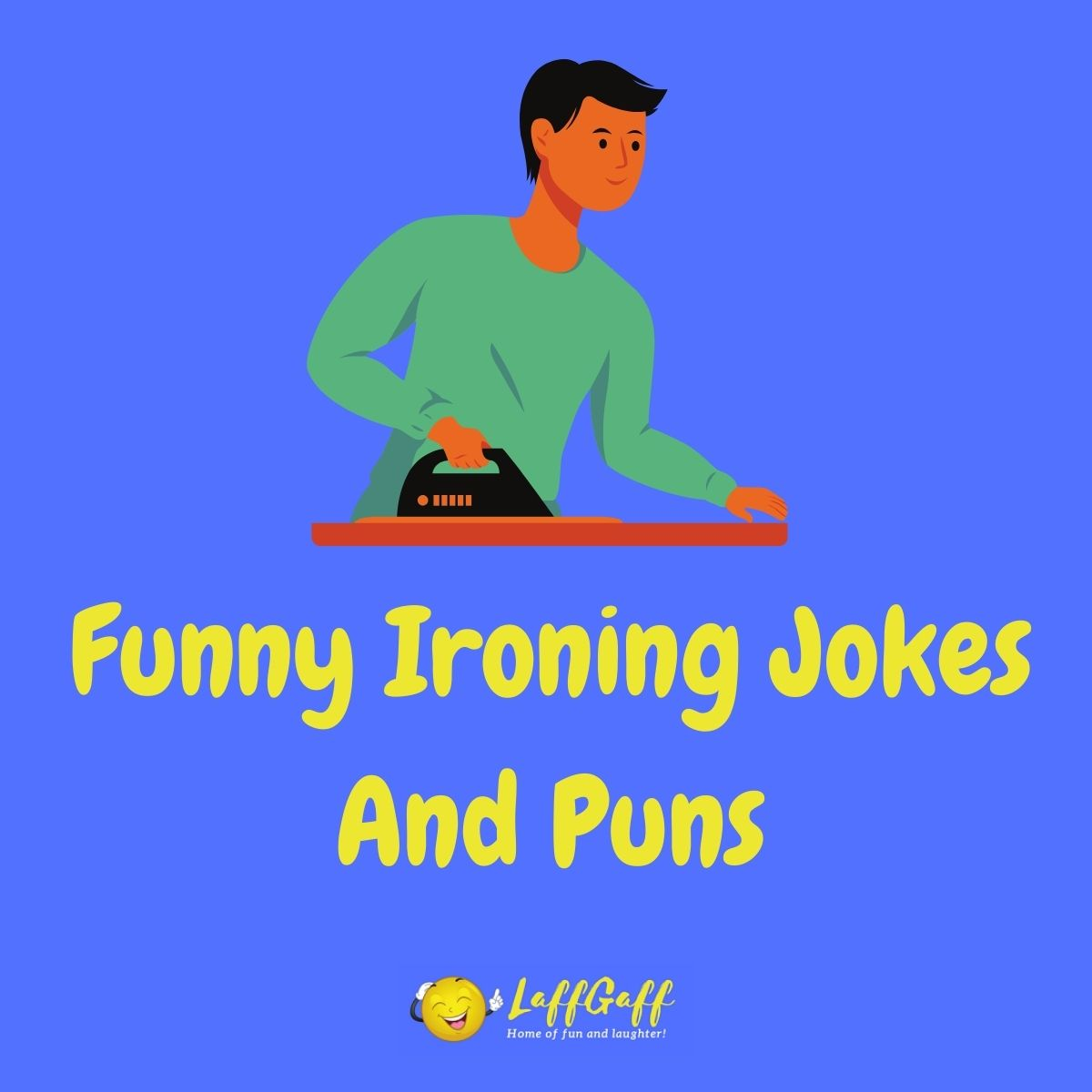 Featured image for a page of funny ironing jokes and puns.