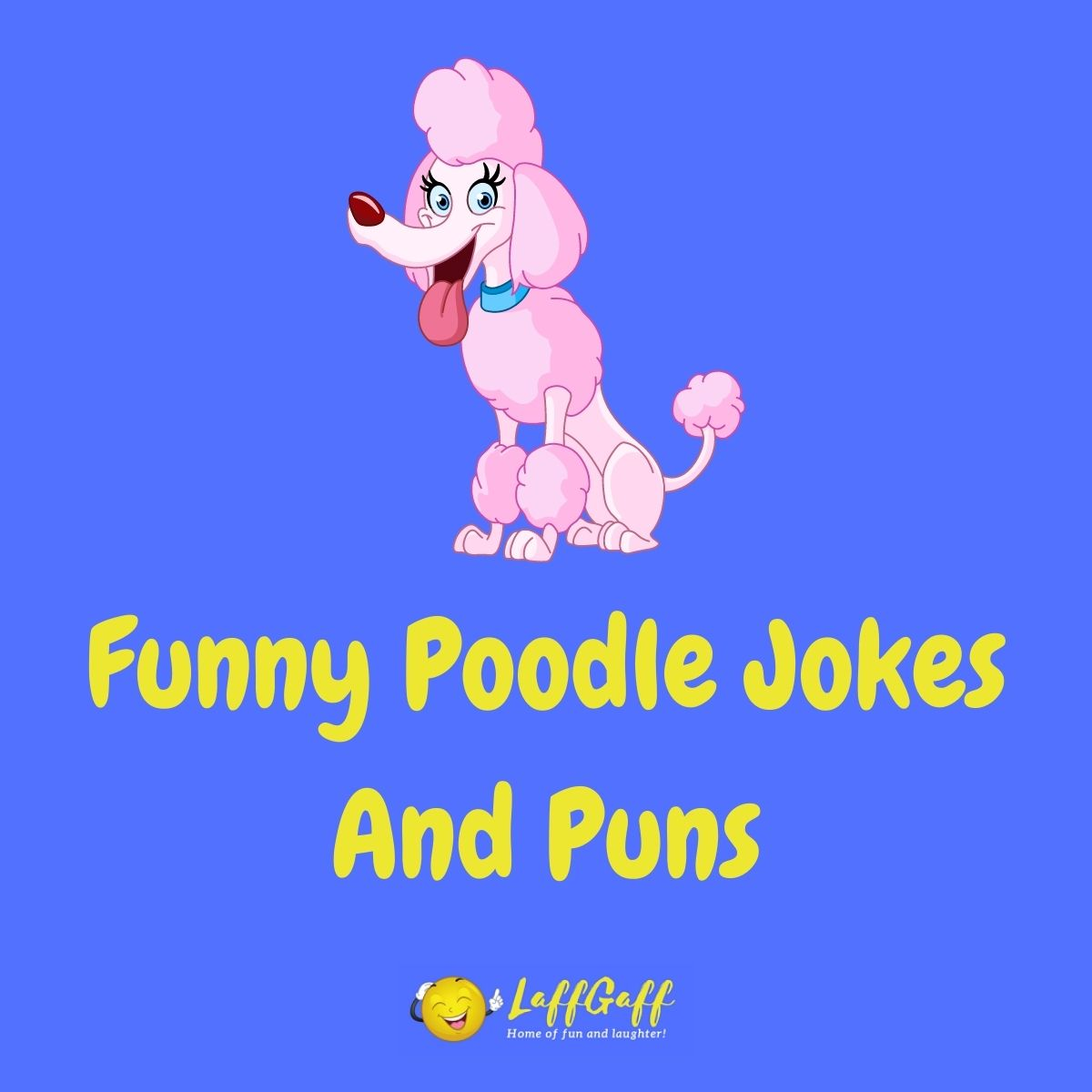 Featured image for a page of funny Poodle jokes and puns.