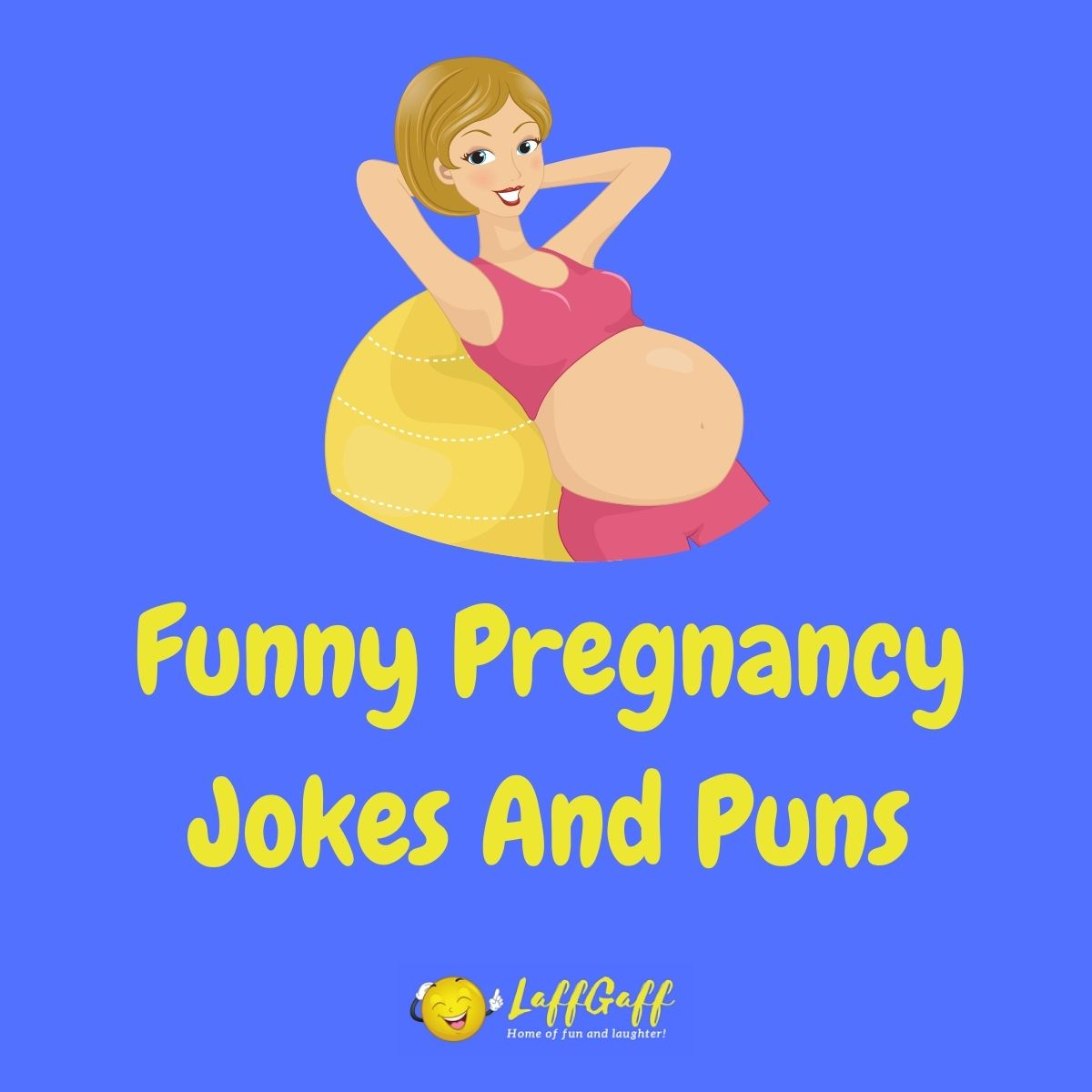 Featured image for a page of funny pregnancy jokes and puns.