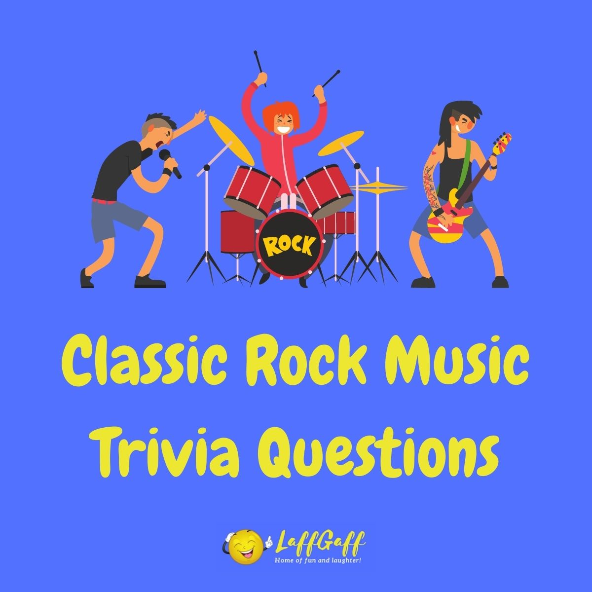Featured image for a page of classic rock trivia music questions and answers.