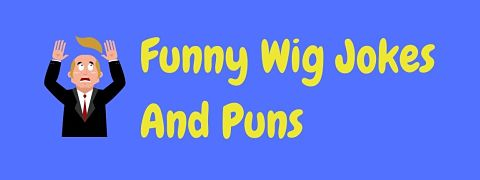 Header image for a page of funny wig jokes and puns.