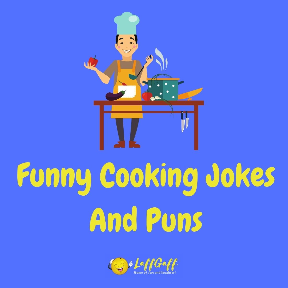 Featured image for a page of funny cooking jokes and puns.