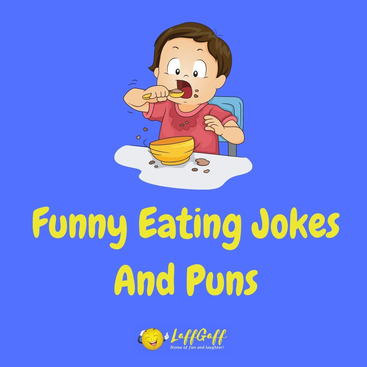 Featured image for a page of funny eating jokes and puns.