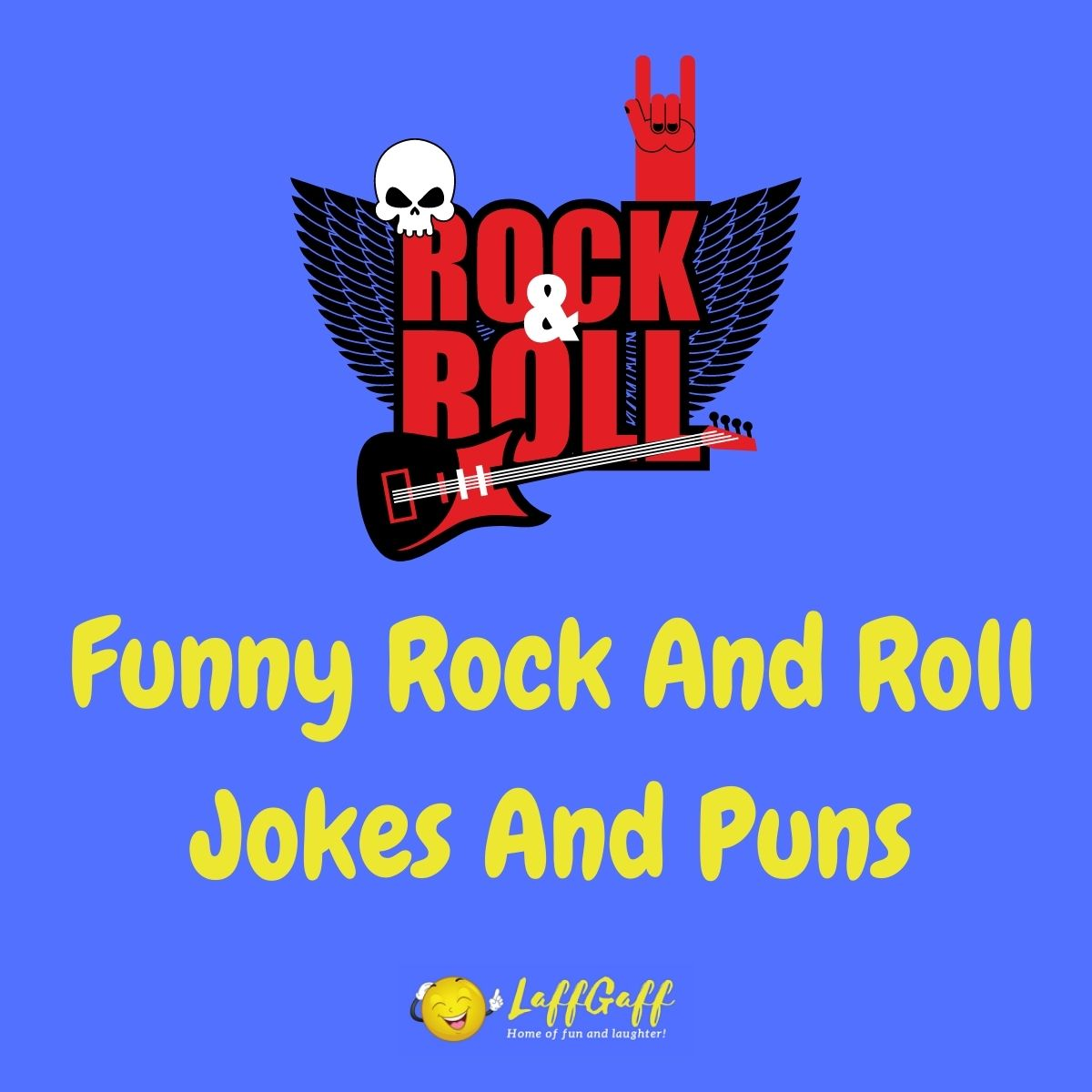 Featured image for a page of funny rock and roll jokes and puns.