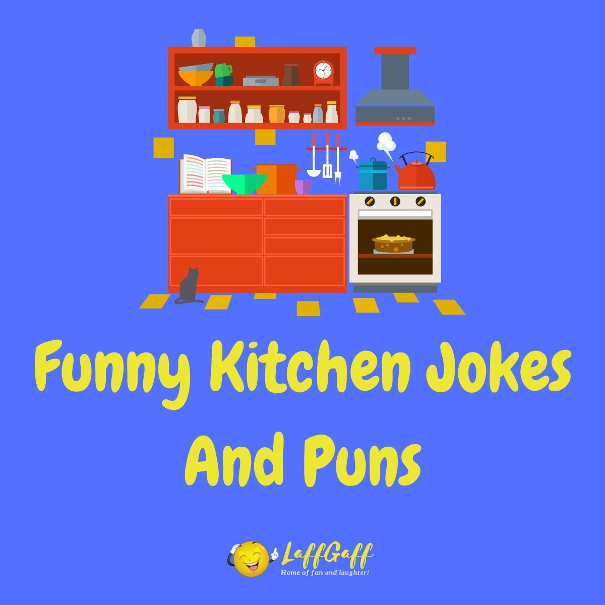 Featured image for a page of funny kitchen jokes and puns.