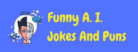 Header image for a page of funny AI jokes and puns.