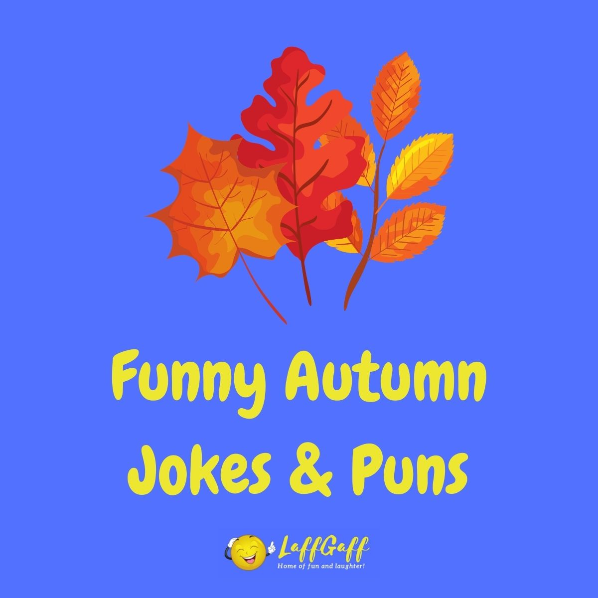 Featured image for a page of funny fall and autumn jokes and puns.