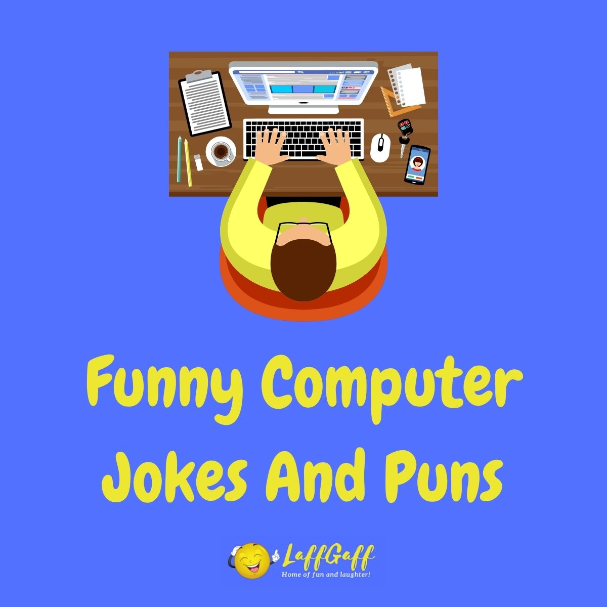 Featured image for a page of funny computer jokes and puns.