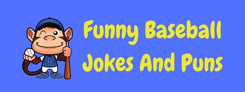 Header image for a page of funny baseball jokes and puns.