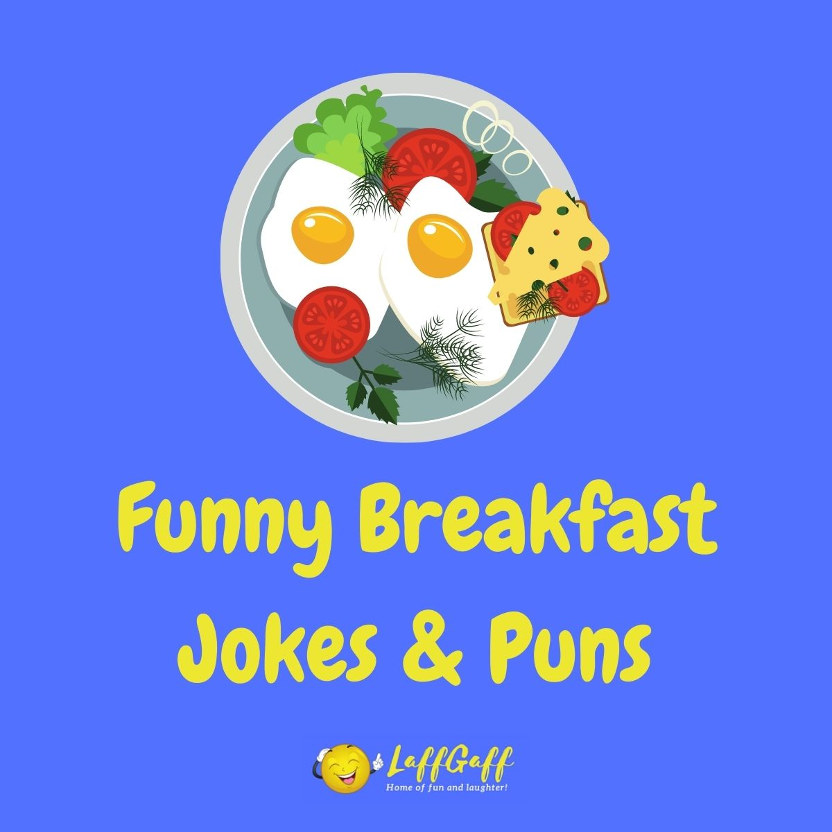 Featured image for a page of funny breakfast jokes and puns.