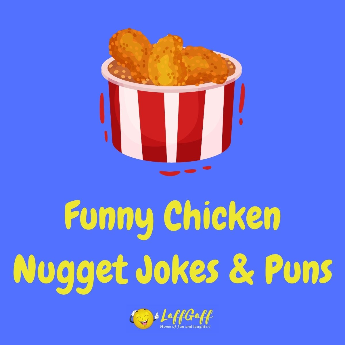 Featured image for a page of funny chicken nugget jokes and puns.