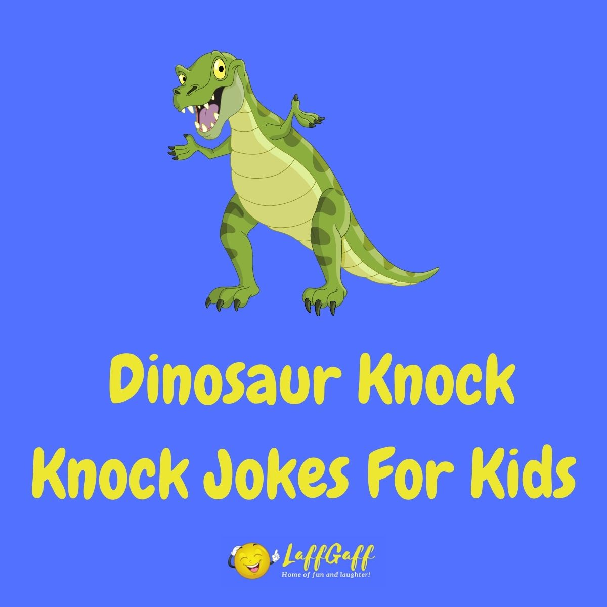 Featured image for a page of funny dinosaur knock knock jokes for kids.