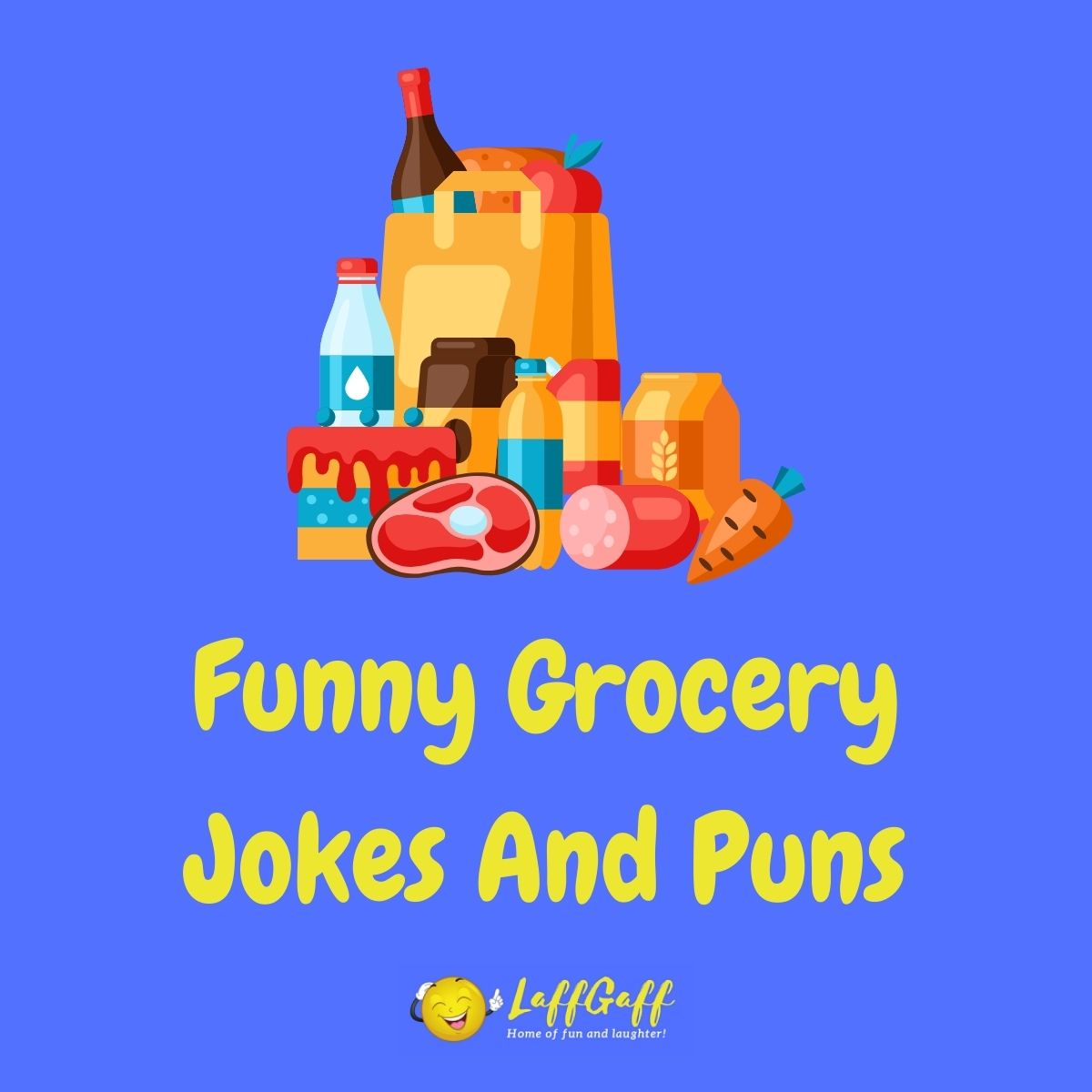 Featured image for a page of funny grocery jokes and puns.