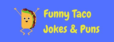 Header image for a page of funny taco jokes and puns.
