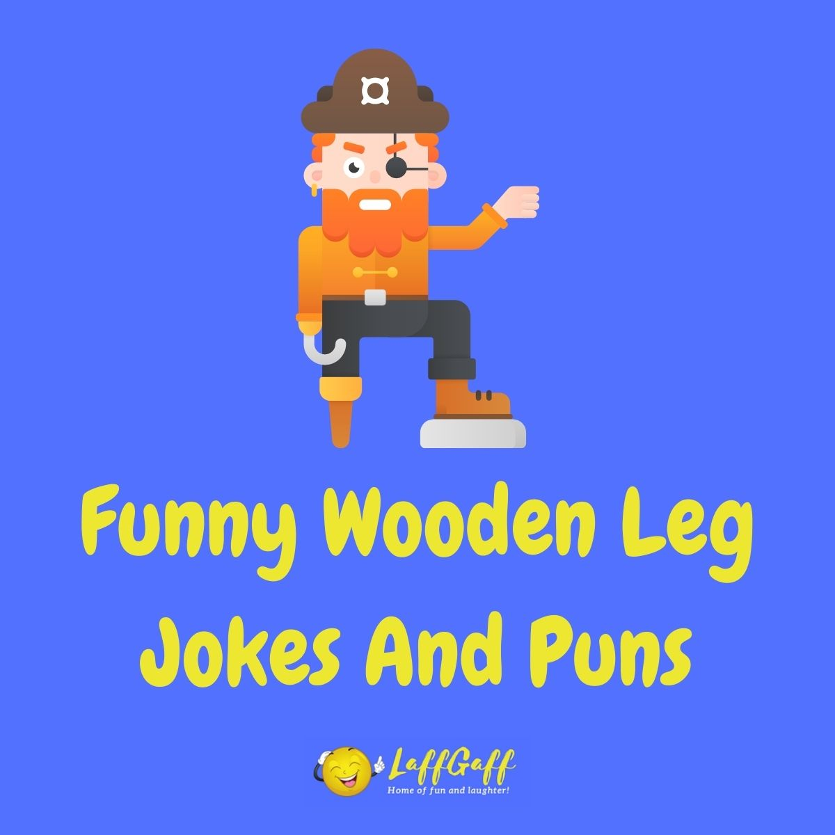 Featured image for a page of funny wooden leg jokes and puns.