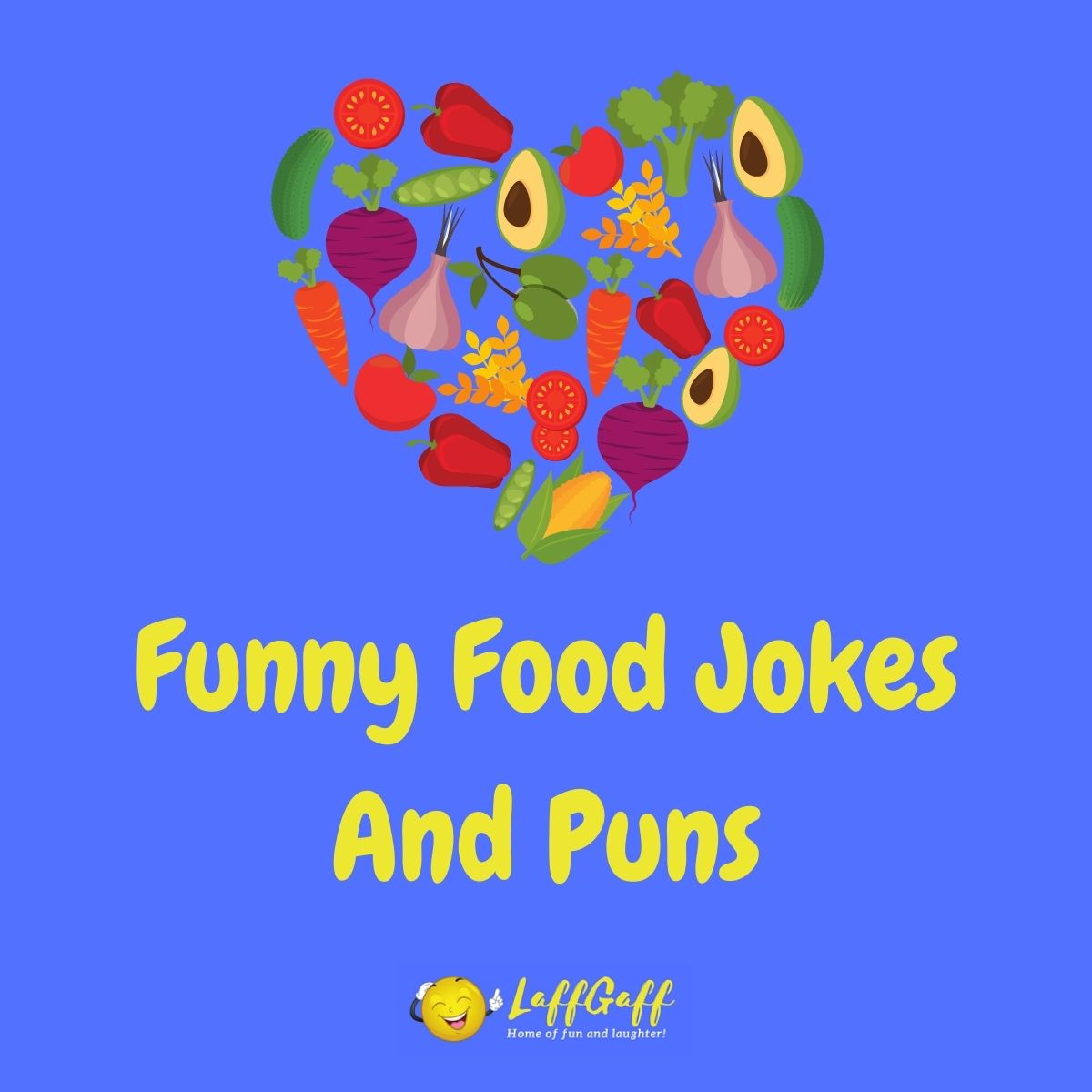 Featured image for a page of funny food jokes and puns..